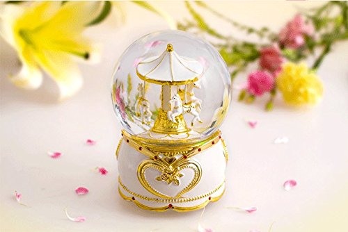 NON ROCK Carousel Horse Crystal Ball Christmas Musical Box Luxury Small Color Change Luminous Rotating by NON ROCK (Image #3)