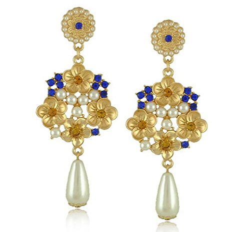 Mr Ribbt Womens Retro Palace Jewelry Exaggerated Long Water Droplets Pearl Earrings(Blue)