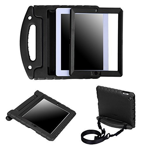 HDE Case for iPad 2 3 4 Heavy Duty Dual Layer Protective Cover with Built in Screen Protector and Adjustable Shoulder Strap for Apple iPad 2nd 3rd 4th Generation - Black