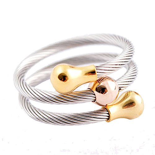 Bonnie Multilayer Adjustable Silver 316L Stainless Steel Twisted Cable Wire C...