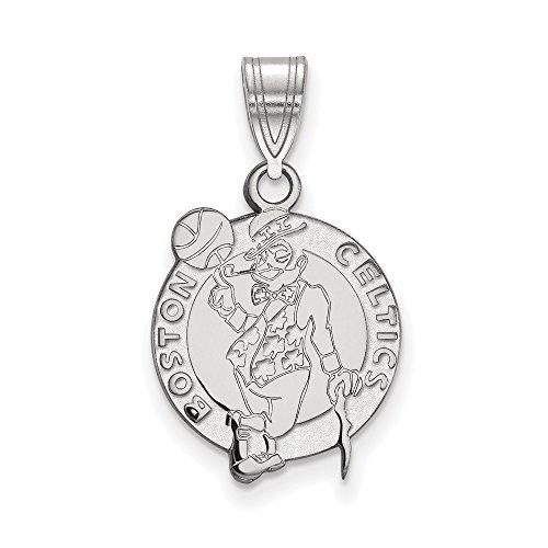 NBA Boston Celtics Medium Logo Pendant in Rhodium Plated Sterling Silver by LogoArt