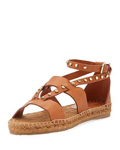 JIMMY CHOO Denise Flat Studded Sandal Espadrilles 36.5 Tan