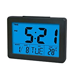 Digital Clock,HOOKE Atomic Morning Alarm Clock with 1.4 Large Display,Timer,Indoor Temperature/Day/Date Display,Repeating Snooze and Sound Control Lighting Function (Black)