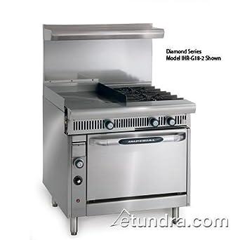 Imperial Commercial Restaurant Range 36quot W 2 Burners 24quot Griddle Standard Oven Nat