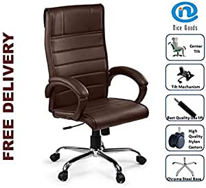 Nice Goods High Back Brown Leatherette Executive/CEO/MD/Staff/Office/Conference/Workstation Chair