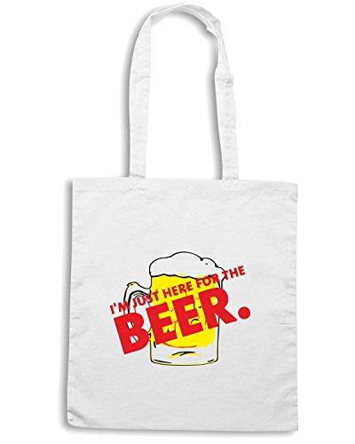 I the Just BEER0078 Here Bianco for Shopping Beer Shirtshock T Borsa m wIHSqR