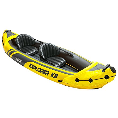Intex Explorer K2 Yellow 2 Person Inflatable Kayak Canoe Boat with Air Pump