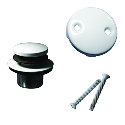 Westbrass Tip Toe Tub Trim Set with Two-Hole Overflow Faceplate, Powder Coat White, D93-2-50