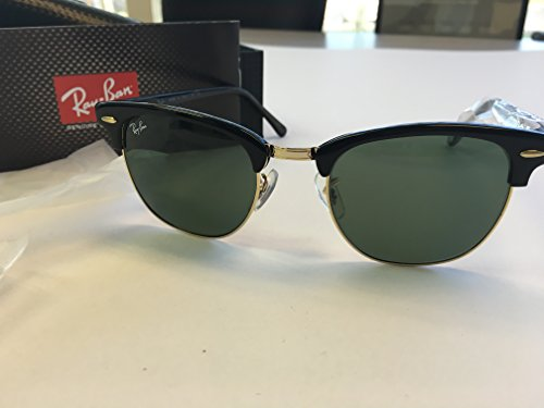 Ray-Ban Authentic Clubmaster RB 3016 W0365 51mm Ebony / Natural Green - 3016 Rb Clubmaster Rayban