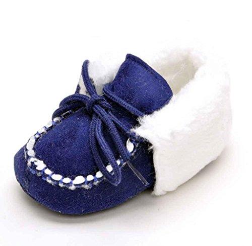 Zapatos de bebé,Tongshi Bebé niñas cuna único suave cálido botón pisos arranque de algodón Azul