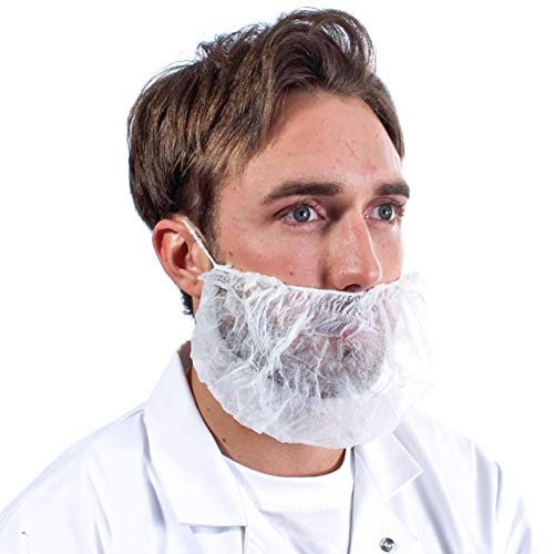 100 Pack of Disposable Beard Covers. White beard protectors. Premium Quality protective mask. Heavy duty beard caps. Facial hair covering. Single loop. Breathable & Lightweight. (Hair Net Mask)