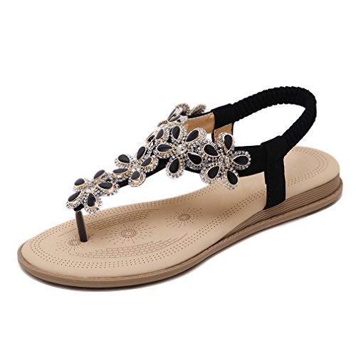 Youngsoul Kvinners Sandaler Flops Komfort Flat Slingback Sommer Rhinestone Svart Post Flip Blomst Thong Tå Damene qqCdwr