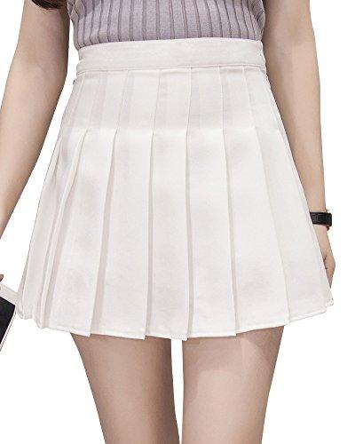 Jupe Patineuse Mini Court Jupe Taille Plisse Femme Blanc En Haute 1qB41WSf