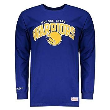 Camiseta Mitchell   Ness NBA Golden State Warriors Manga Longa Azul ... c6bfc63f004