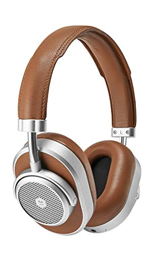 Silver Headphones Headphones (Master & Dynamic MW65 Active Noise-Cancelling (ANC) Wireless Headphones - Premium Bluetooth Over-Ear Headphones, Silver Metal/Brown Leather)