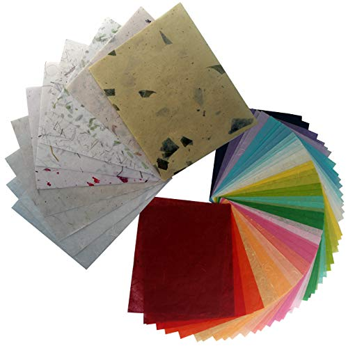 60 Sheets 8.5 x 11 inch handmade paper mulberry paper sheets for crafts japanese tissue paper with designs 8.5 by 11 inch letter size collage art supplies soap paper packaging wrap soap supplies bulk ()
