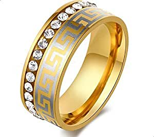 Ring women's gold encrusted with crystals Size 10