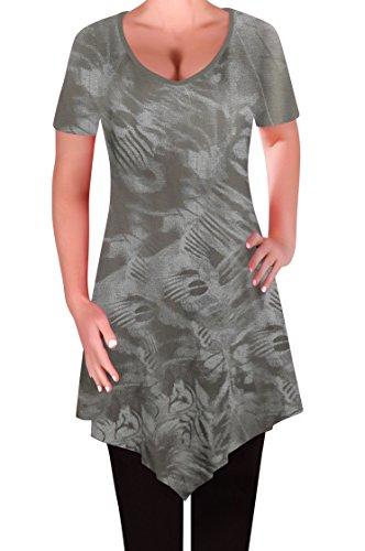 Tops Tye V Evas Femmes En Eyecatch T Myst Chemisier Tunique Dames Aux Col Moka Dye Ourlet Keira Shirt 7qCRwFH