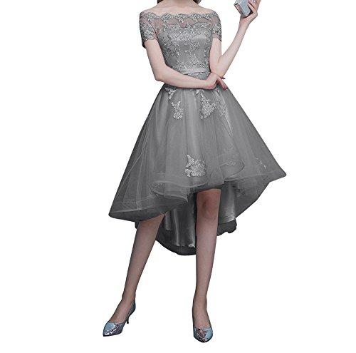 Ballkleider Abendkleider Rosa Kurz Damen Kurzarm Charmant Tanzenkleider Spitze Promkleider Hi lo Grau Sf1qI8In