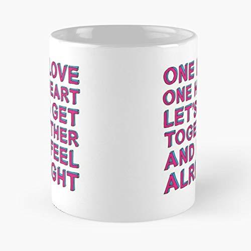 One Love Heart Lets Get Together And Feel Alright Bob Marley Gift Coffee/tea Ceramic Mug 11 Oz