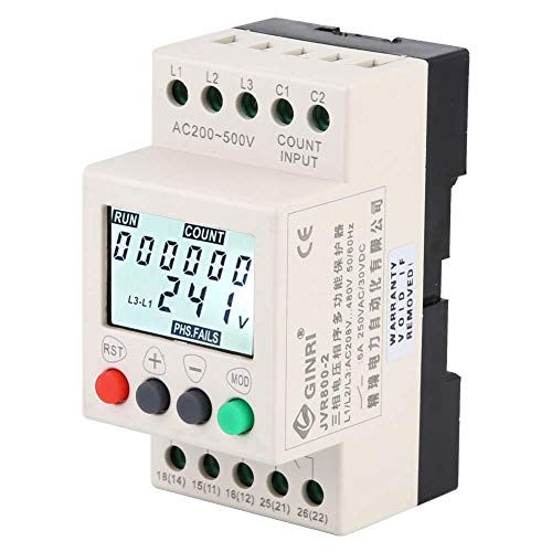3 Phase Voltage Monitoring Relay, JVR800-2 Under Over Voltage Protector Monitoring Sequence Protection Relay with LCD Display ()