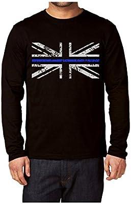 Delgada línea azul Policía Union Jack Camiseta de manga larga ...