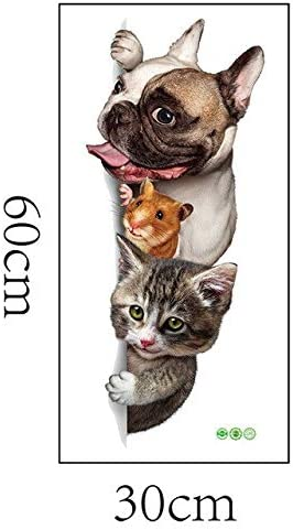 Amazon Com Cartoon Animals 3d Wall Sticker Cats Dogs Mouse Birds Door Stickers Funny Home Decor Kids Room Decoration Vinyl Wallpapers Black Kitchen Dining