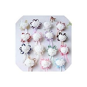alerghrg Wrist Corsages Bracelet Foam White Rose Wrist Flowers for Bridesmaid Bracelet Wedding Accessories Bridal Hand Flower 43