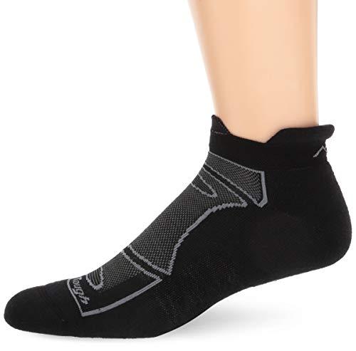 Darn Tough Men's Merino Wool No-Show Ultra-Light Cushion Athletic Socks, Black/Gray, Medium