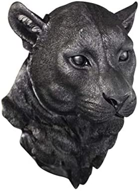 Wall Charmers Large Black Faux Mountain Lion Head Wall Hanging – 17 inch Faux Taxidermy Animal Head Wall Decor – Handmade Farmhouse Decor