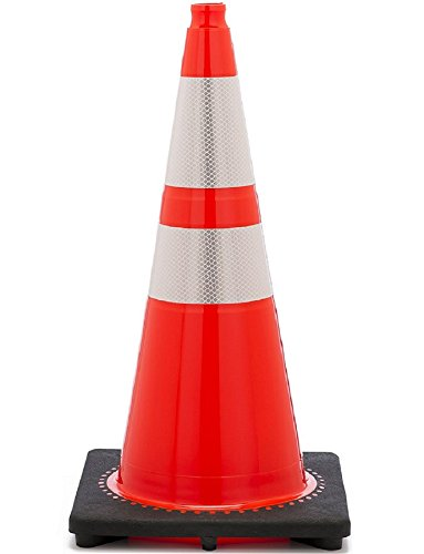 JBC High-Visibility Orange Traffic Cones with 3M Reflective Collars - 28-inch