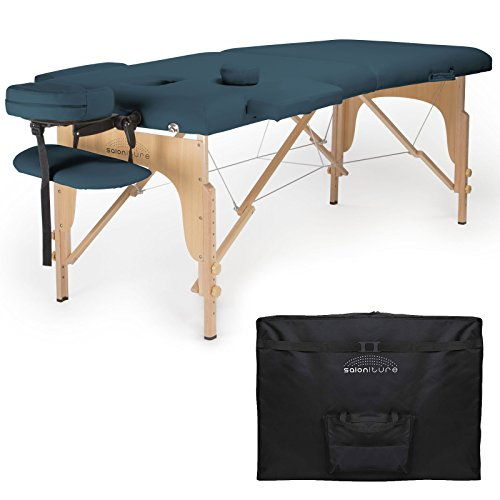 Saloniture Professional Portable Folding Massage Table with Carrying Case - Blue