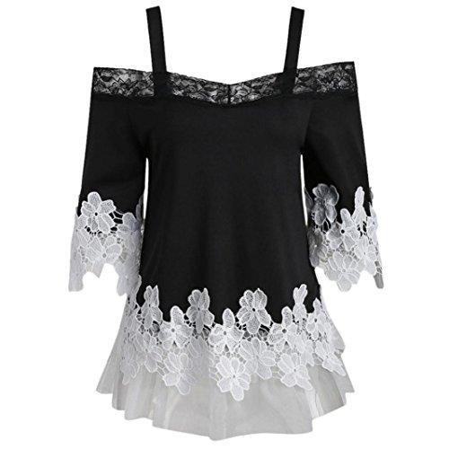 GOVOW Womens Off Shoulder Floral Applique Lace Mesh Short Sleeve T-Shirt Camis Tops Blouse ()