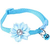 Cat Collar with Flower and Bell, Kitty Kitten Necklace for Small Dogs Cats Rabbit Safety Pet Collar Girl Boy (1 Pack…