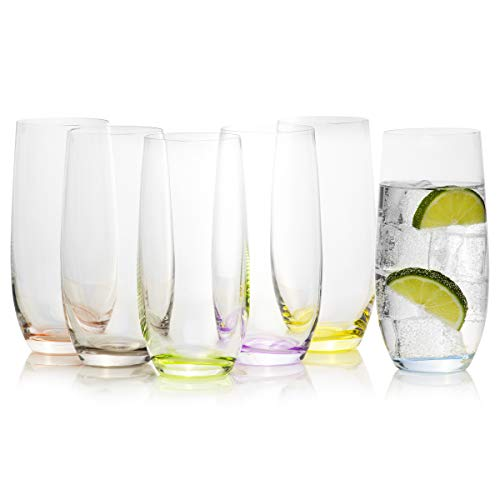 Tall Multi Colored highball drinking glasses set of 6 - Rainbow Collection by Crystalex, Colorful, Creative, Mixed Vibrant & Decorated Tumblers Drinkware, 11.8 Ounces / 350ml]()
