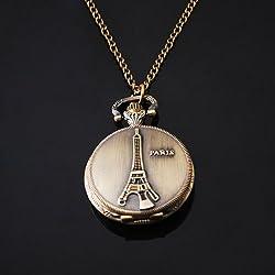 Bronze Vintage Eiffel Tower Paris Women Bronze Chain Necklace Pocket Watch By Chonlyshop