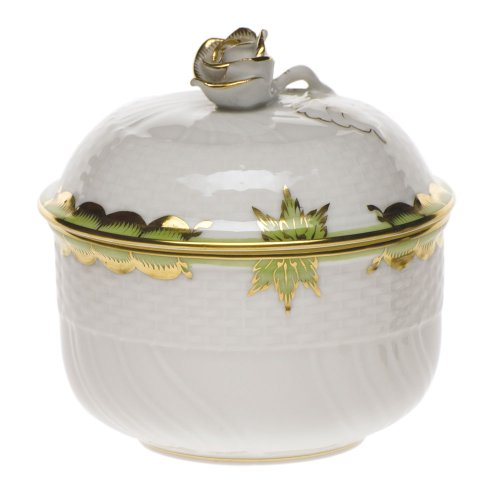 Herend Princess Victoria Green Porcelain Covered Sugar With -