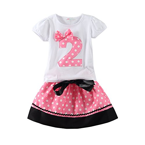 Mud Kingdom Polka Dot Toddler Girls Birthday Clothing Set I Am 2 Pink Skirt Baby Bajby