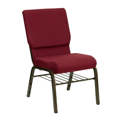"18.5""W Church Chair in Burgundy Fabric with Book Rack – Gold Vein Frame"