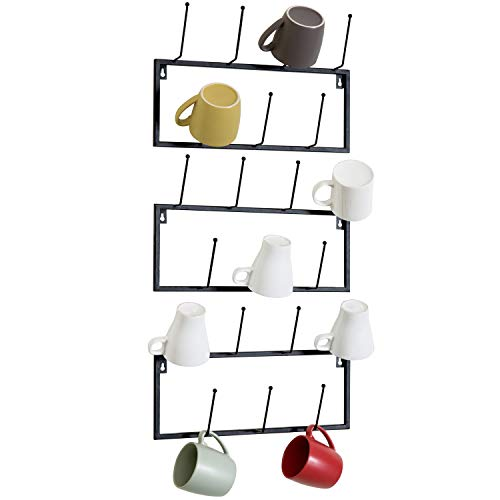MyGift Set of 3 Black Metal Wall-Mounted Coffee Mug Storage Rack, 21-Hooks Total (Metal Black Coffee Mug)