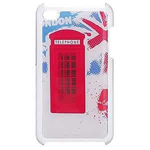 MOFY-Stand del caso del patr—n Simple Red Telephone epoxy dura para iPod Touch 4