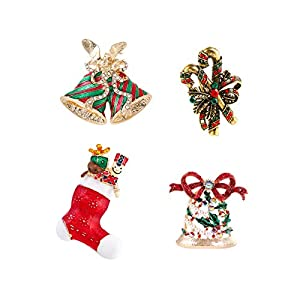 DANXYN Christmas Pins Set Holiday Brooch Pin Set for Christmas Decorations Ornaments Gifts - Christmas Sock, Jingle, Candy Cane