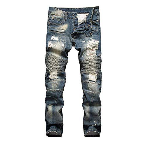 A Discoteca Polsino Base Vita Coltivazione Autonoma Uomo Proiettili Jeans Senza Splicing Modelli Semplice Fracassato Tipo Indigo Denim Stile Pantaloni Lanceyy Dritti Media 6RxEwBTqT