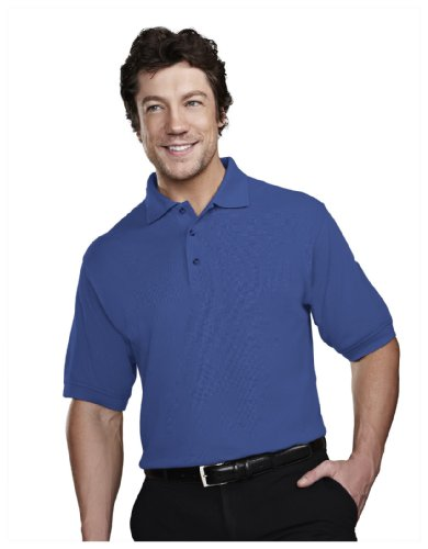 Tri Mountain Mens 60 40 Stain Resistant Pique Golf Shirt  205   Royal Xl