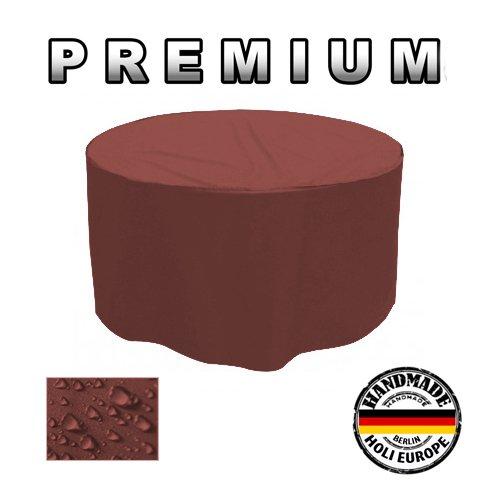 PREMIUM Gartentisch Abdeckung Gartenmöbel Schutzhülle RUND ø 185cm x H 90cm Kaffee Latte