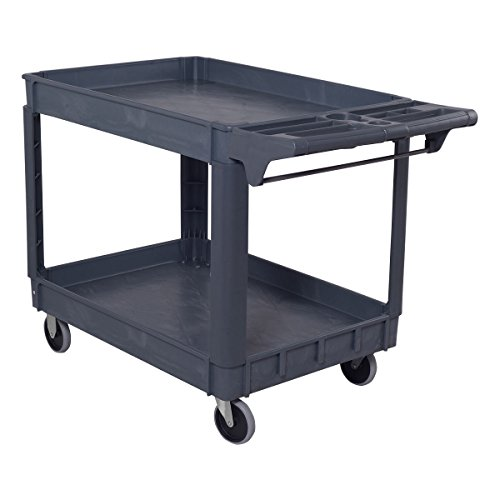 Goplus Plastic Service Cart Utility Storage Cart for All Purpose 550 LBS Capacity (2 Shelves 46' x 25' x 33')