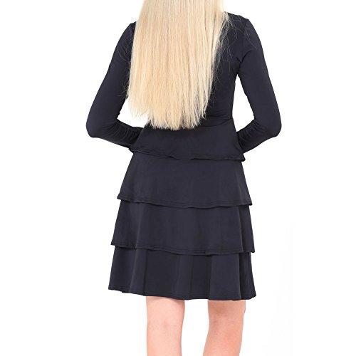 Bodycon4u Ourlet Volanté Femmes Col Rond Manches Longues Simple Robe T-shirt Loose Noir
