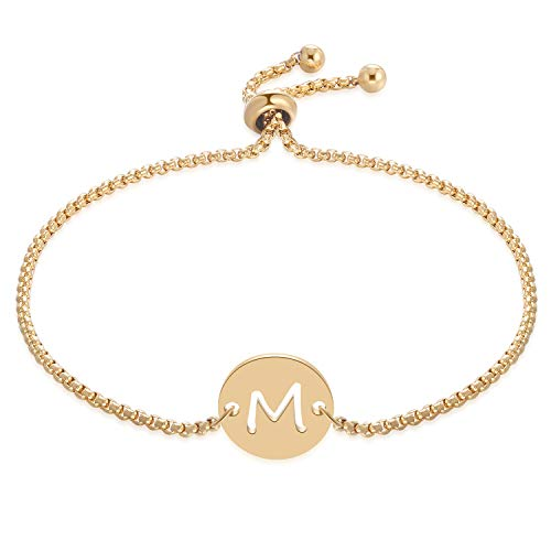 FM FM42 Stainless Steel Alphabet Initial Round Disc Charm Adjustable Rolo Chain Bracelet (Letter M, Yellow-Gold-Tone) ZB1132-Y