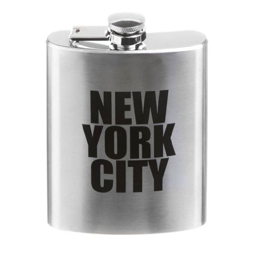 (New York City Letter Stainless Steel Hip Flask NY Souvenir Flask - 3 Different Sizes (7 oz - Large))