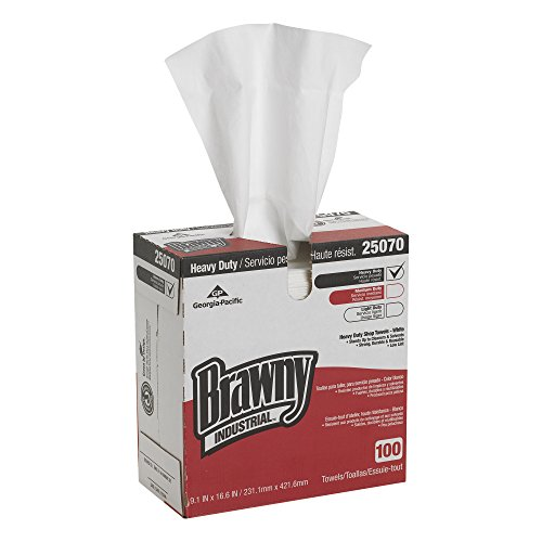 Georgia-Pacific Brawny Industrial 25070 White Medium-Weight HEF Shop Towel (Tall Dispenser Box), 9.1